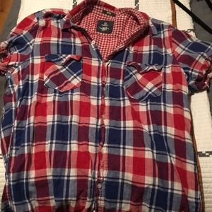 H&M Fitted plaid T shirt Button Up